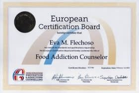 Especialista certificado en adicción a la comida